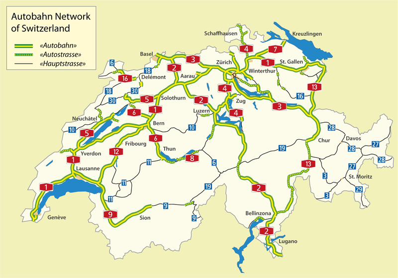 svájci autópályák